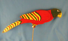 Wooden parrot lawn bird potted plant handmade painted indoor outdoor vintage