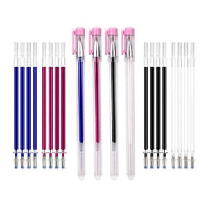 4 Colors Heat Erasable Pens Fabric Marking Pens with 20 Refills for Dressmaking,