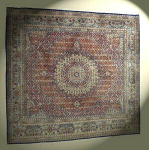 Alter echter IRAN Moud Orient-Teppich handgeknüpft Wolle 228x241cm  quadratisch