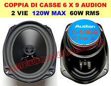 COPPIA DI CASSE PER AUTO 4OM 2 VIE 120 WATT ALTOPARLANTI 6X9 OVALI 16X23 CM