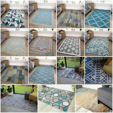 Modern Duck Egg Blue Living Room Rugs Non Shed Shaggy Rugs For Home in Blue NEW