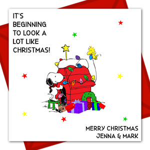 Personalised Snoopy Peanut Inspired Xmas Card Quote  OPTIONS