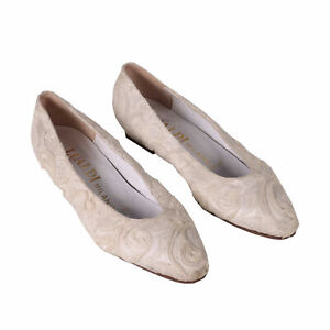 Vintage chaussures en dentelle blanche numéro 36 fabriqués à la main -...