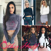 UK Women High Neck Crop Top Fluffy Long Sleeves Ladies Jumper Winter Size 6-14