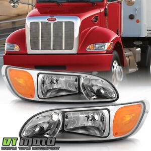 2008-2013 Peterbilt 325/384/386 Truck Chrome Headlights Headlamps Set Left+Right