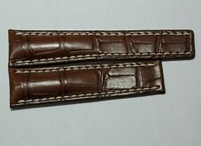 24mm x 20mm Gold Brown Crocodile Deployment Breitling Strap.
