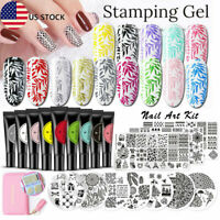 8ML Nail Stamping UV Gel Nail Polish Lot Black White Tools BORN PRETTY Tools
