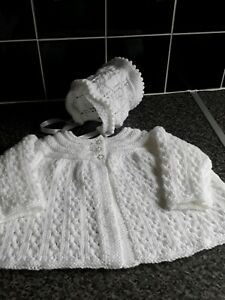 Hand Knitted Baby Matinee Coat/cardigan And Bonnet 0/3 Months
