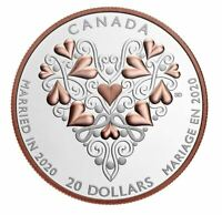 """🇨🇦 Canada $20 Silver Coin, """"Married in 2020"""", Best Wishes Wedding Day, UNC"""