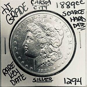 1889 CC MORGAN SILVER DOLLAR HI GRADE GENUINE U.S. MINT RARE KEY COIN 1294