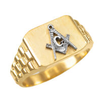 10K Mens Yellow Gold Masonic Rectangular Ring