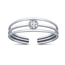 Toe Diamond Ring 14k White Gold Over 925 Silver 3 Row Solitaire Open Adjustable
