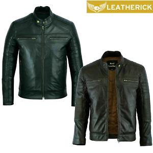 Mens Real Sheepskin Leather Jacket Cafe Racer Biker Black Brown Vintage Retro UK