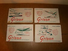 4 buvards - GRISON série Aviation - années 50 - ESPADON  + HÉLICO FARFADET + ...