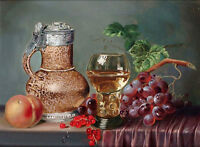 Art Oil painting nice still life fruits peach grape cherry wine cup canvas
