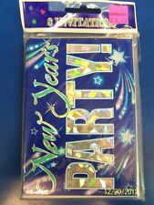 Shooting Stars Blue New Year's Eve Bash Cocktail Party Invitations w/Envelopes