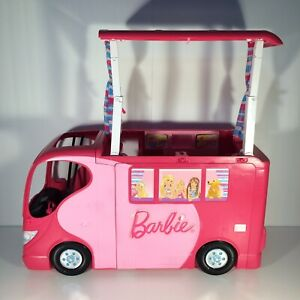 BARBIE SISTERS GO CAMPING Pop Up Pink Camper RV Van 2010 Mattel Rare 22x12x8