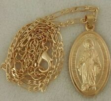 Gold Silver Fairy God Mother Virgin Mary Catholic Pendant Figaro Chain Necklace
