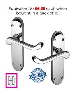 Door Handles Latch Chrome Epsom Scroll Lever Interior/Exterior 1-10 sets