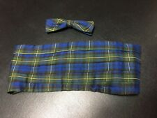 Vtg Silk Clip On Bow Tie & Cummerbund Set Blue Green Black Tartan Plaid