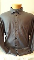 Expressions Mens Gray Button Up Long Sleeve Blue Striped Shirt XL