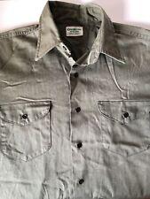 Vtg OshKosh B'gosh Mens Long Sleeve Work Shirt Button Down Snaps Green 15 1/2