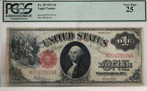 FR. 39 $1 1917 United States Speelman & White PCGS - VF25  NICE!!