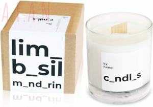 by hand Scented Soy Candle – Premium Wooden Wick Lime Basil & Mandarin