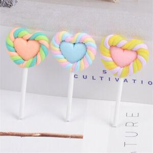 Lot of (x6) Random Polymer Clay Heart Lollipops Craft Embellishments Slime Charm
