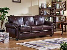 Burgundy Leather 3 Seater Sofa Suite HIGHBURY
