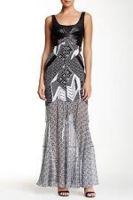 $990 DIANE Von Furstenberg Serena Look Silk Blend & Leather  Dress DVF 6- S Silk