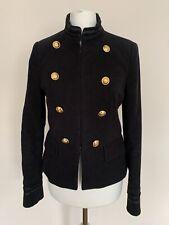 ZARA Military Style Jacket Size XS Velvet Moleskin Navy Blue Blazer Gold Buttons