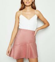 New Look Suedette Faux Suede Asymmetric Mini Skirt Pink S UK 8 BNWT New £22.99