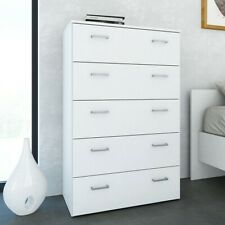 Space Tall Modern Large 5 Drawer Chest of Drawers in White Bedroom Furniture