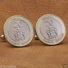 Jamaica Coat Of Arms Cufflinks,  Bimetal 20 Dollars Gold Silver Tone Jamaican