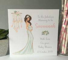 Personalised Handmade Baby Shower Card Mum Mummy To Be Brown Hair