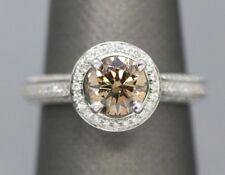 1.65ctw Orange Brown Diamond Halo Engagement Ring 18k White Gold