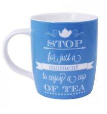 Blue Vintage Style Tea Slogan Porcelain Mug
