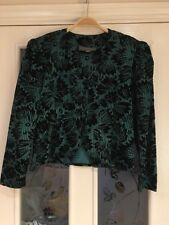 Ladies Clothes Size 14 Petite Principals Green Black 1980's Vintage Velvet Top