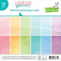 "Lawn Fawn Single-sided Petite Paper Pack 6""x6"" 36/pkg-watercolor Wishes, 12"