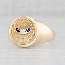 Odd Fellows Signet Ring 10k Yellow Gold Sz 13.75 3-Rings All Seeing Eye Insignia
