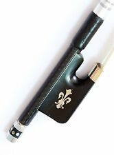 Vio Music Top Braided Carbon Fiber Viola Bow, Fleur-de-lys inlay, Ebony Frog,