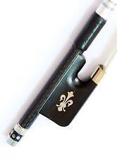 Vio Music Top Braided Carbon Fiber Viola Bow, Fleur-de-lys inlay, Ebony Frog,