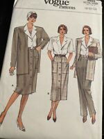 Vintage Vogue Pattern 9855 Shirt Pants Skirt Jacket 8-12 Uncut