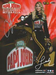 2018 Leah Pritchett signed Papa John's Pizza U.S. Nationals Indy NHRA postcard