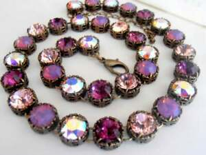 Amethyst Multi-colors Bronze Choker Necklace w/ Swarovski Crystals Birthday Gift