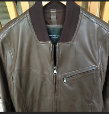 Andrew Marc New York Men's Brown Lambskin Leather Bomber Jacket Small