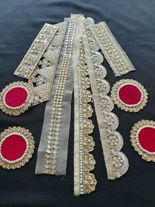 Joblot Gold Fabric Trims  Laces Borders Grab Bag 10 assorted Trims Craft DIY