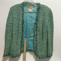 St John Couture Green Blue Yellow Knit Frayed Zipper Jacket Size 8 Vintage SEE..