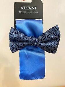 Alfani Geometric Pre-Tied Bow Tie & Pocket Square Set NEW Navy / Blue